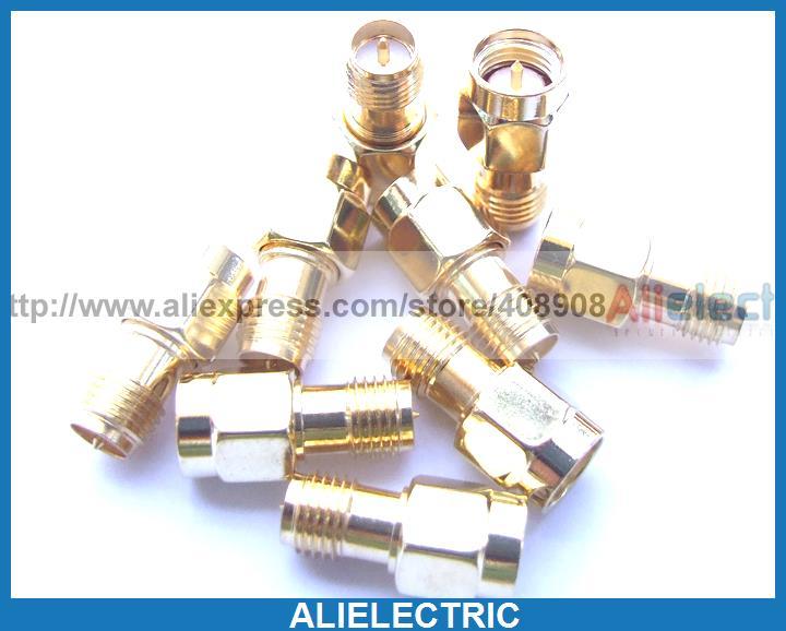 10 قطعة الذهب مطلي النحاس RP SMA إلى SMA المكونات RF الذكور دبوس محوري محولات