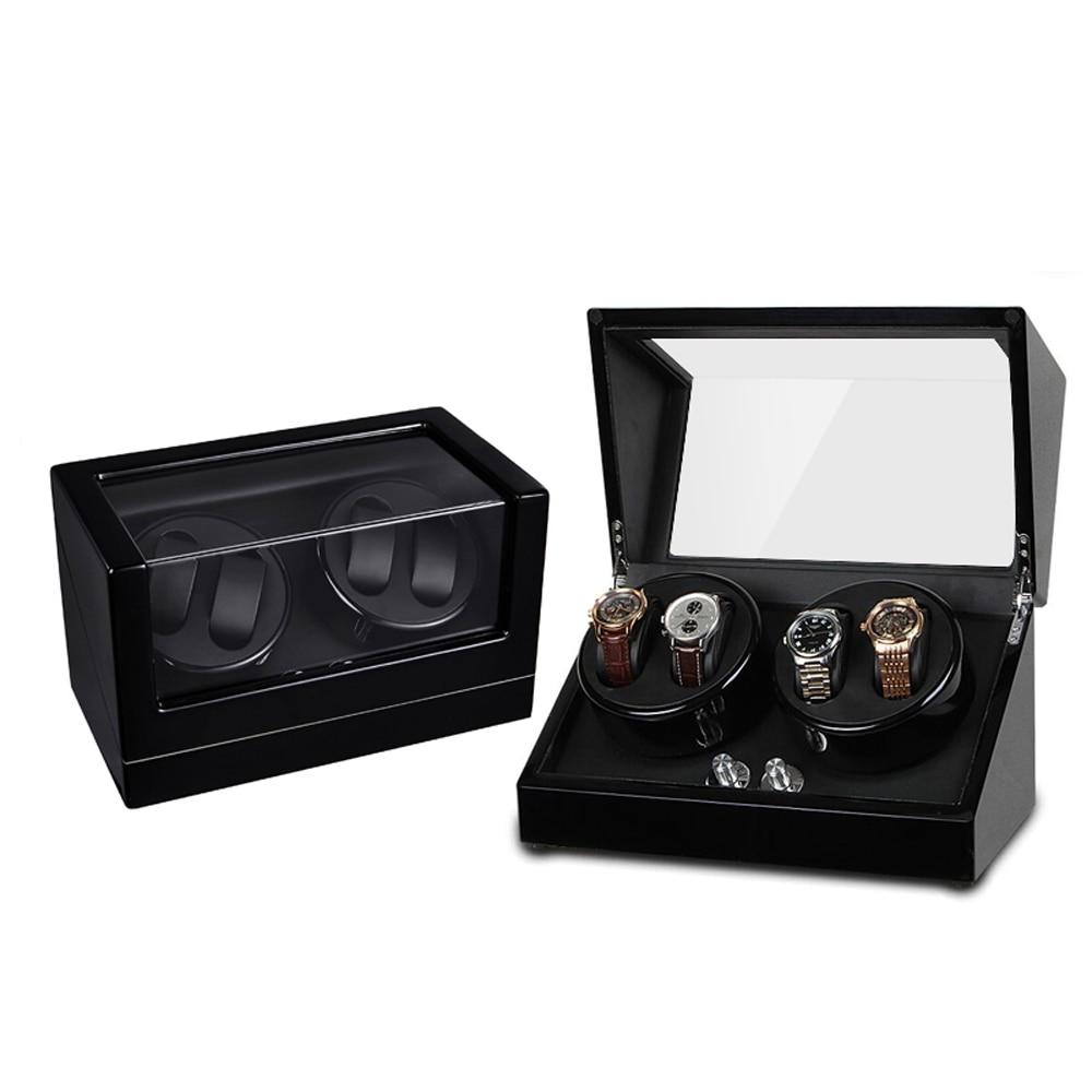 Watch Winder ,LT Wooden Automatic Rotation 4+0 Watch Winder Storage Case Display Box (black) enlarge