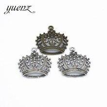 YuenZ 2 pièces en alliage de Zinc Antique couleur argent couronne breloques pendentifs résultats de bijoux pour bricolage collier ras du cou Bracelet 40*39mm N216