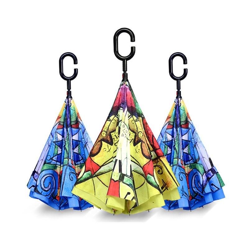 No automático de mango largo Unbrellas para protector solar lluvia Gear mujeres Parasol opaco Anti-UV invertida inversa paraguas plegables