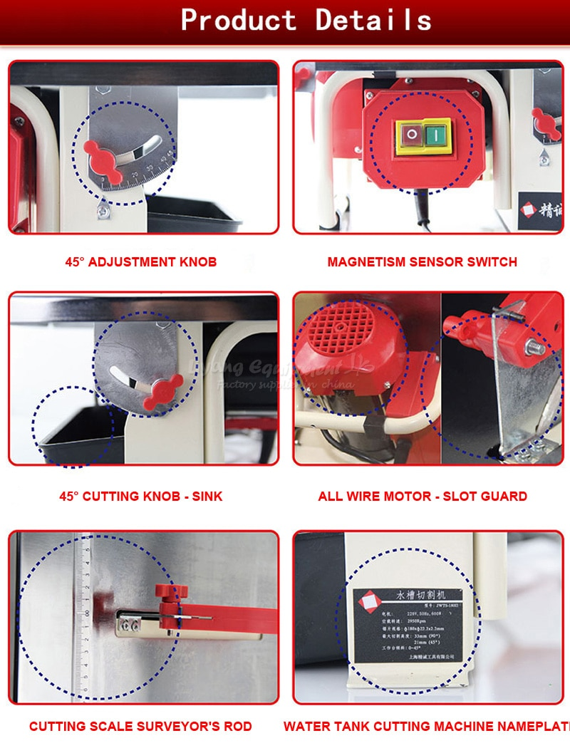Ceramic tile cutting machine JWTS-180 2 vjade article dimension stone wood slicing woodworking table saw Q10088 enlarge