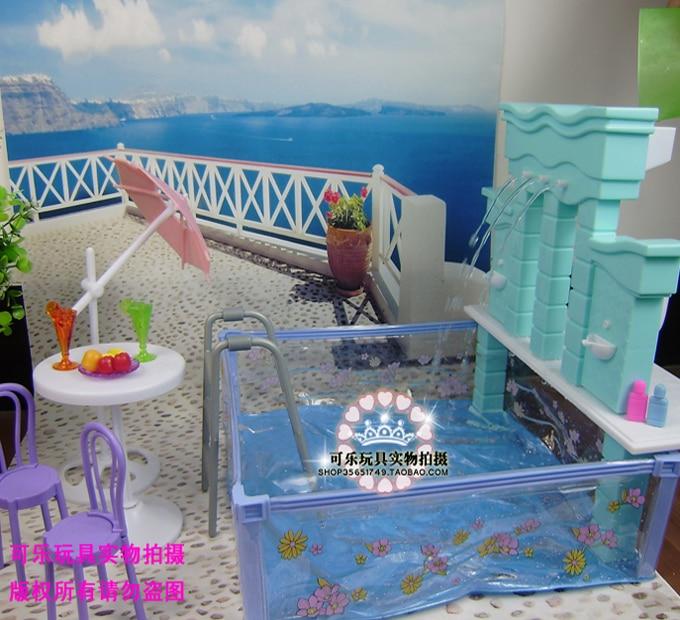 Muebles para barbie doll casa piscina 1/6 bjd accesorios princesas casa de...