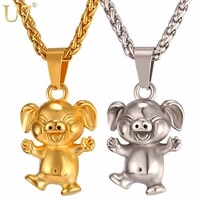 u7 cute animal happy pig necklace gold stainless steel chain pet pendant jewelry for menwomen gift dropshipping wholesale p1044