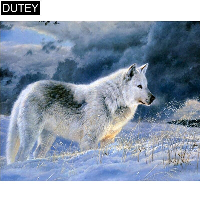 """Quadrado completo/broca redonda 5d diy pintura diamante """"lobo de neve"""" bordado ponto cruz mosaico casa decoração presente jcc"""