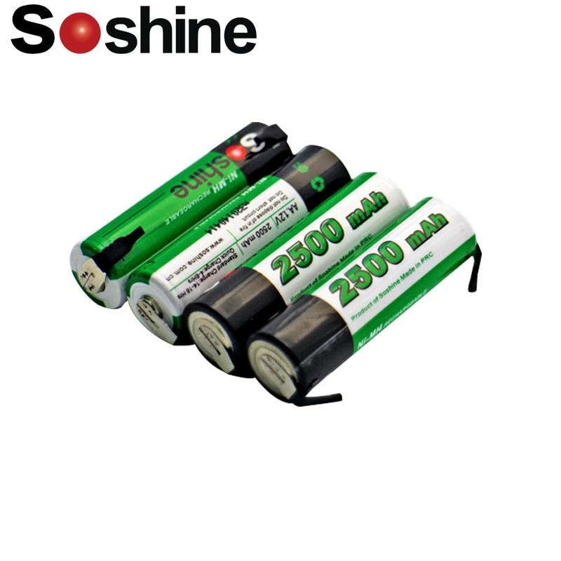 4 pcs Soshine AA NiMH 2500mAh 1.2V rechargeable battery with tab Spot welding battery