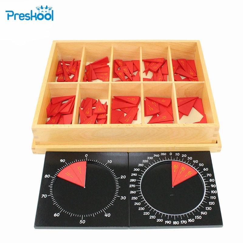 Montessori Math teaching aids kindergarten children wooden toys Cut-Out Labeled Fraction Circles 11-20