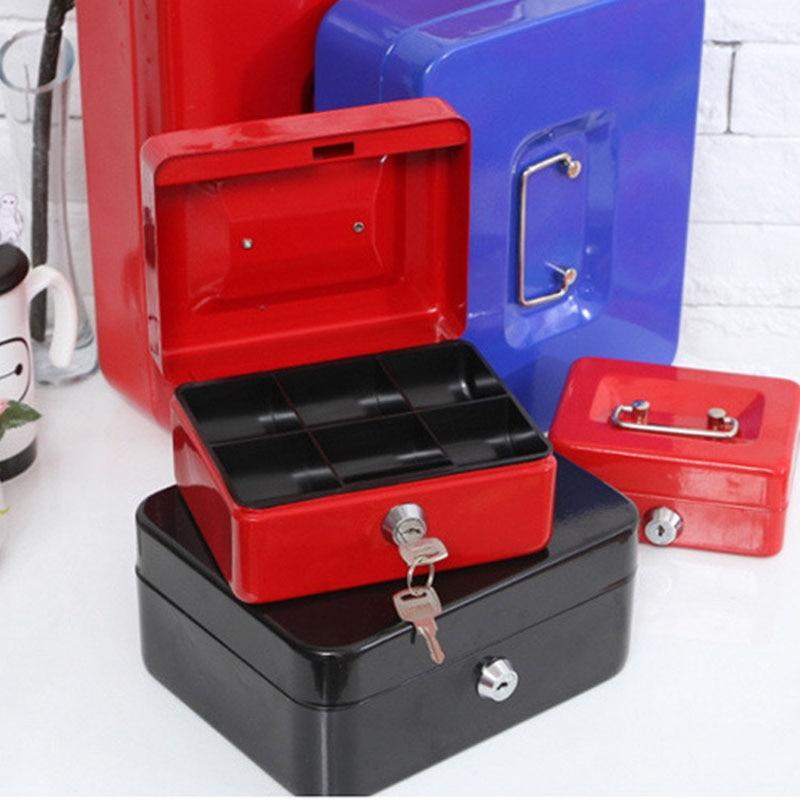 خزنة فولاذية مع قفل مفتاح ، صندوق أمان لتخزين المجوهرات ، للمنزل ، المدرسة ، المكتب ، صينية مقصورات ، خزائن قابلة للقفل ، مقاس XL
