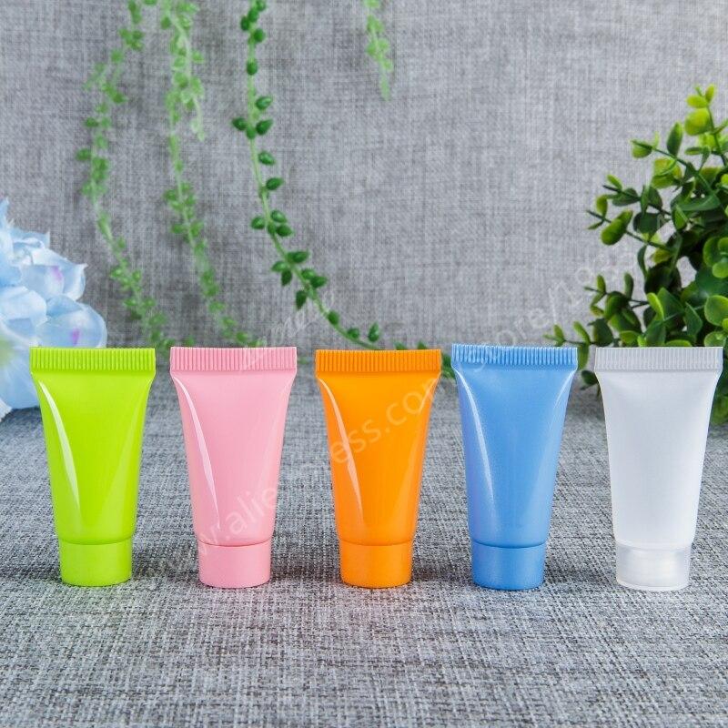 Tubo macio cosmético macio vazio do pe 100x5g mini, esfrega mangueiras, garrafas do aperto, recipiente cosmético plástico 5cc