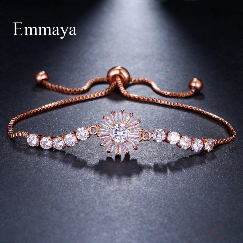 Marca Emmaya elegancia Simple dos colores AAA circón ajustable copo de nieve pulseras de cristal para las mujeres joyería barata regalo de boda