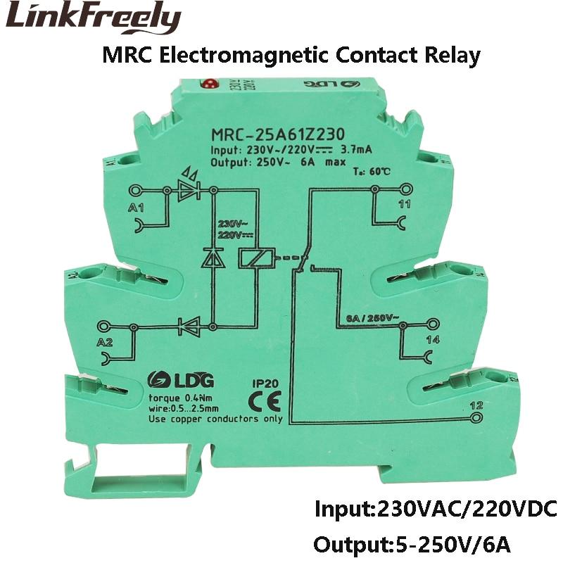 MRC-25A61Z230 230VAC/220VDC bobina Mini contacto electromagnético LED relé interfaz 6A 250VAC/DC tablero de relé de Control de voltaje de carga