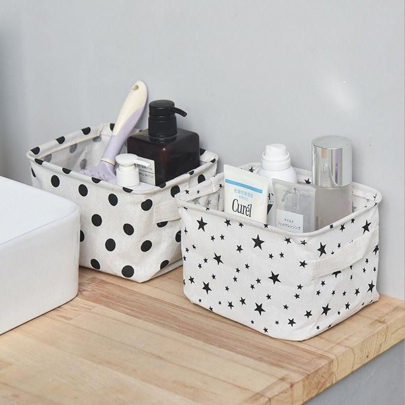 Cesta de almacenamiento de escritorio de lino de algodón de alta calidad caja de almacenamiento variada con asa organizador de maquillaje para escritorio 20,5x13,5x16,5 cm S01