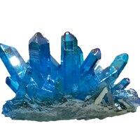Blue Aura crystal cluster quartz titanium aura flower natural stones and minerals stone decoration for home