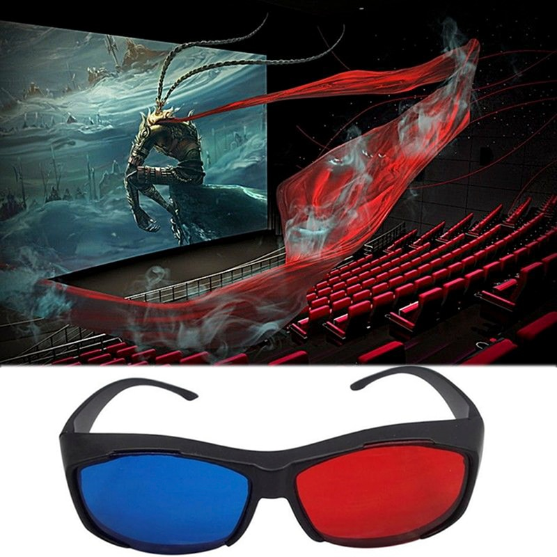 1Pcs 3D Red Blue Glasses Black Frame For Dimensional Anaglyph TV Movie DVD Game