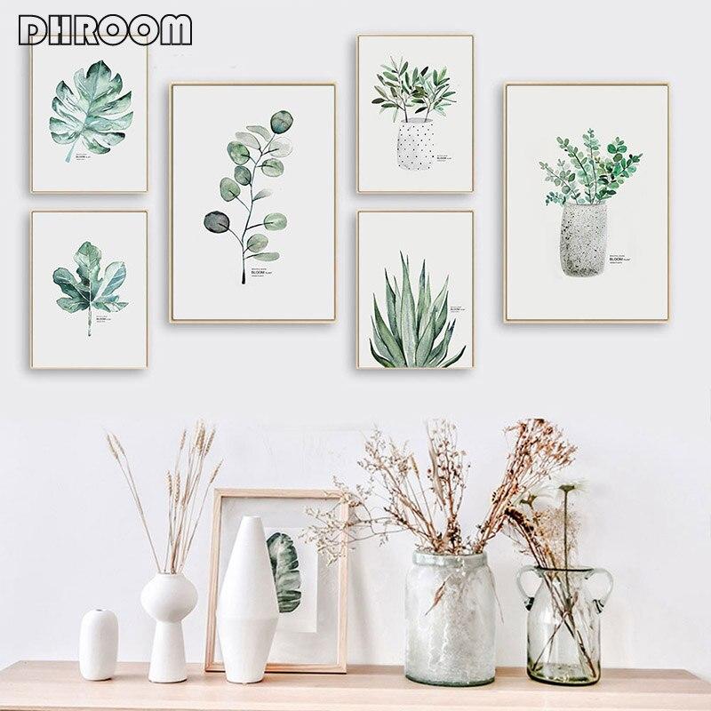 Acuarela plantas hoja lienzo pintura Estilo nórdico Poster impresión escandinava pared arte minimalista decoración cuadros decoración del hogar