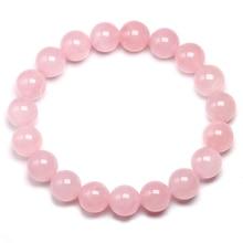 100% Natural AAAAA Mulheres Chakras Jóias Pulseira Rosa Pulseira Quartzo Rosa Pedra Preciosa Pedra Natural Bead Handmade Presentes Do Amante