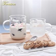 Tasse de café en verre pingouin ours polaire   Mignon tasse de bière créative tasse de thé en verre résistant à la chaleur, tasse de café japonaise, nouveauté Zakka