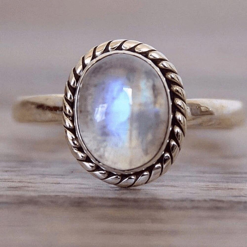 Vintage retro punk estilo prata chapeado anéis para festa de casamento feminino jóias natural moonstone anéis moda prata acessórios
