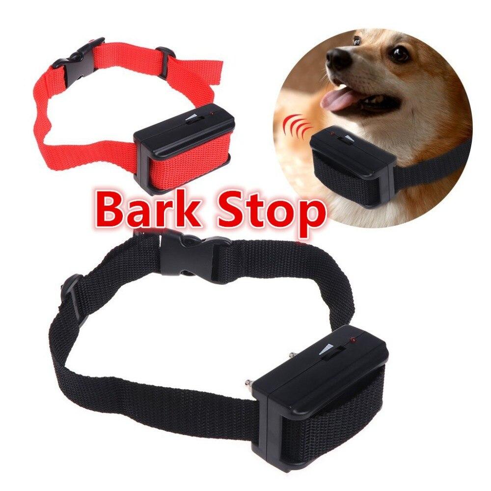 Corteza ladrar parar seguro ultrasónico perro disuasión Anti ladridos Collar automático activado por voz ABS ajustable Collar del entrenamiento para perros