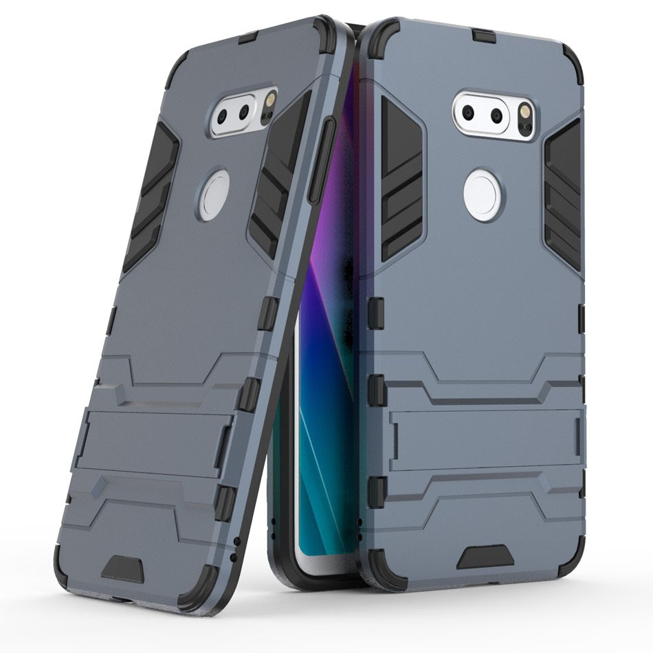 Carcasa protectora trasera para LG Q6 Q8 Stylo3 Stylo4 PC + TPU 2 en 1, funda con soporte, carcasa resistente a prueba de golpes para LG Q8/V34/V20Pro
