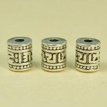 50 Stuks 6.3*7.4 Mm Vintage Metalen Tibetaanse Alloy Zilver Kleur Gesneden Spacer Kralen Loose Bead Nepal Vat Kralen diy Onderdelen 347bz