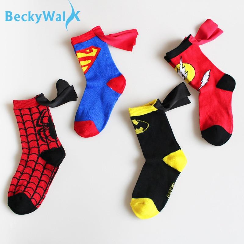 3-6 t meninos esporte meias de algodão crianças meias moda spiderman superman design crianças futebol basquete cso207