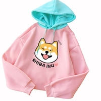 Autumn Winter Pullover Women Fleece Kawaii Cartoon Shiba Inu Sweatshirt Hoodies Fashion Casual Harajuku Dog Print Female Outwear