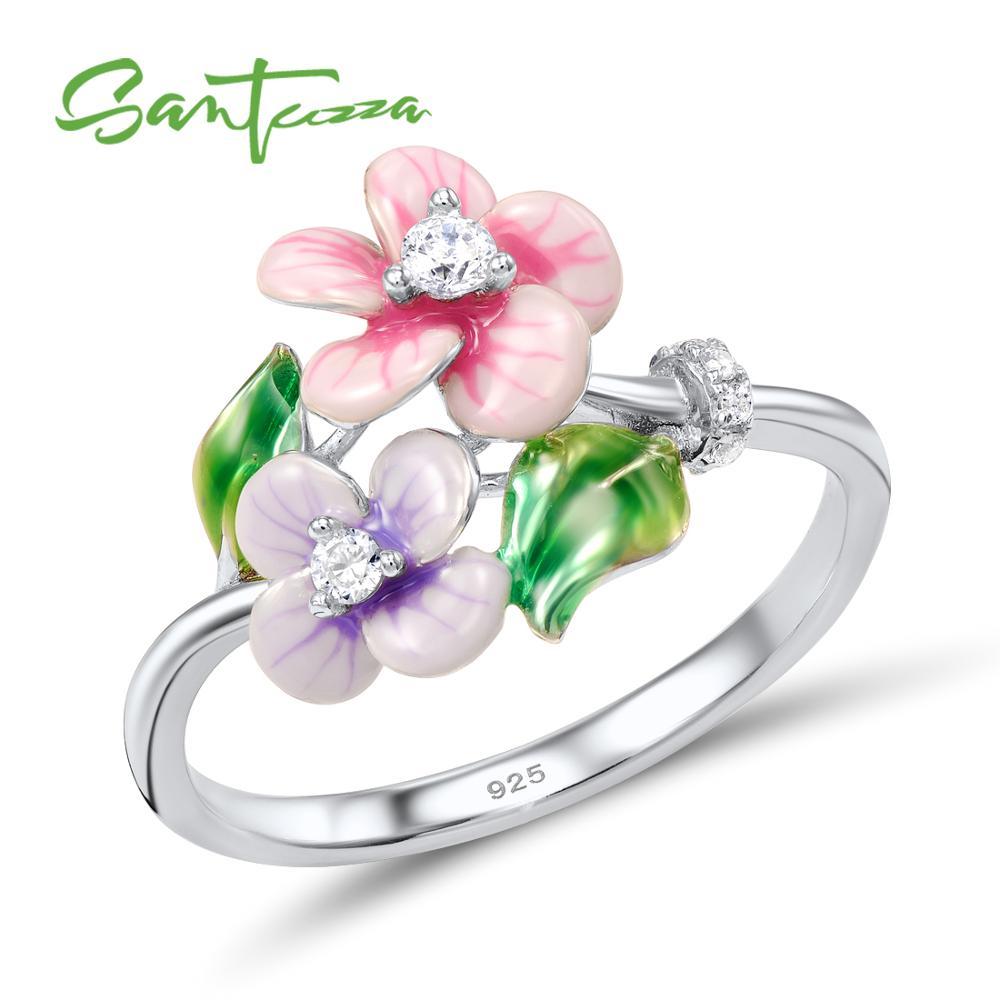 Anillo de plata SANTUZZA para mujer, anillo Floral de Plata de Ley 925 auténtico, joyería de moda brillante CZ hecha a mano con esmalte