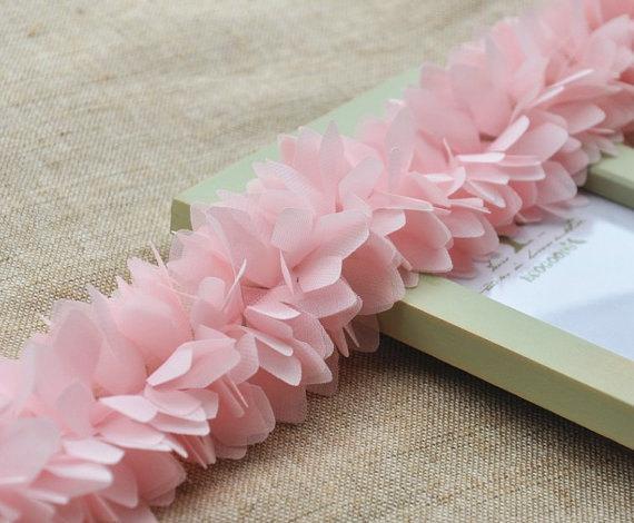 Pink Chiffon Leaves Trim , Wedding Chair Sash , Wedding Decors , Bridal Dress Alteration, 1 yard, FT003P