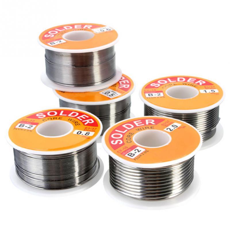 Producto en oferta, 100g, 0,6/0,8/1/1, 2, 63/37 FLUX, 2.0%, 45 pies, alambre de estaño, núcleo de fusión de resina, soldadura, rollo de alambre sin limpiar
