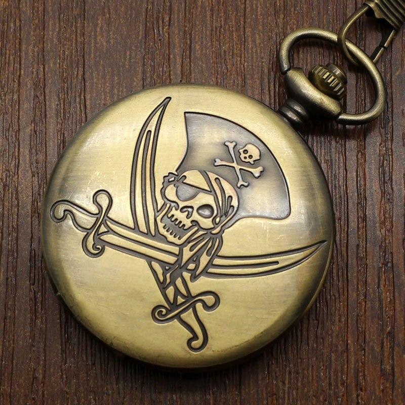 Vintage bronce Cooper calavera pirata Reloj De Bolsillo De cuarzo COLLAR COLGANTE mujeres hombres niños regalos De cumpleaños Reloj De Bolsillo