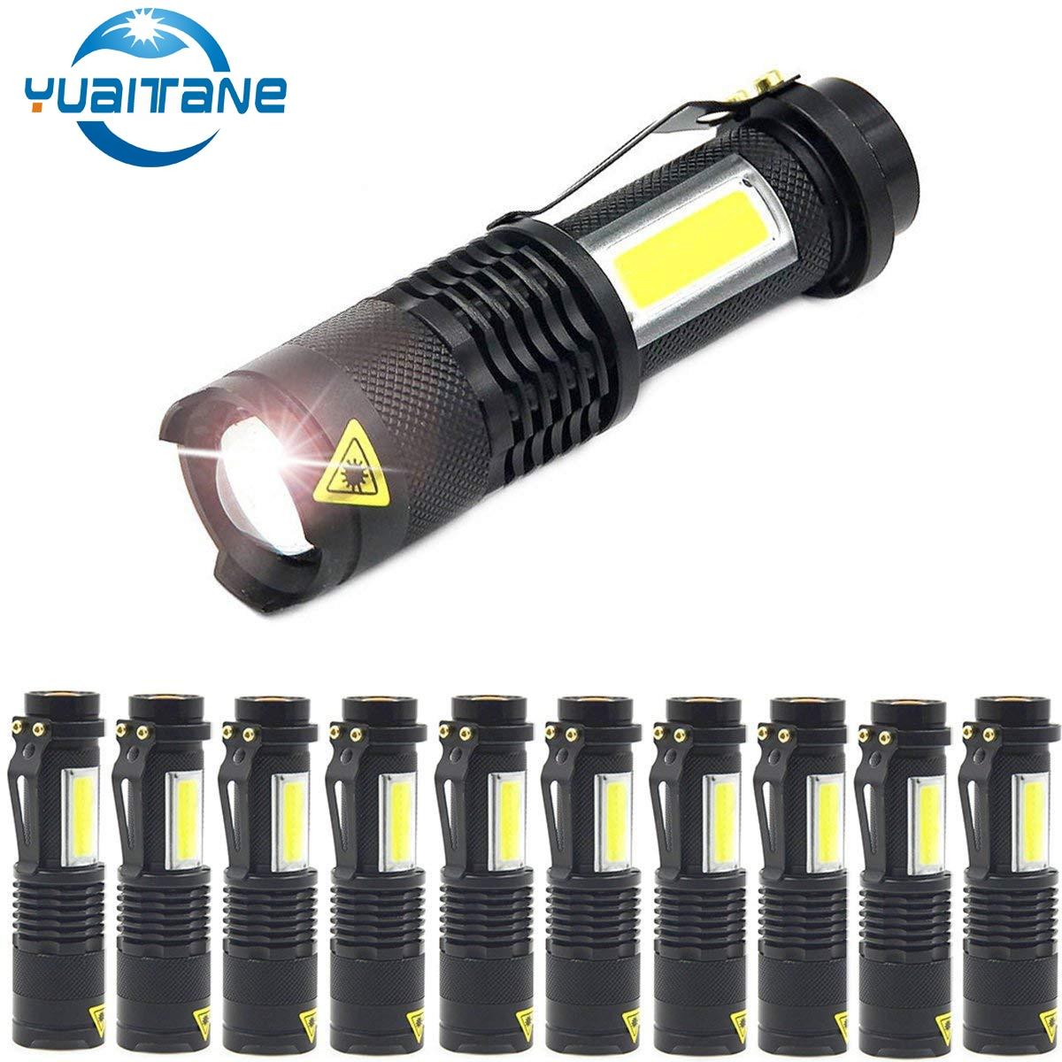 1/3/6/10 шт 3800LM светодиодный фонарик мини Q5 + COB фонарики 4 режима портативный зум-фонарик для кемпинга езды на 14500 или AA