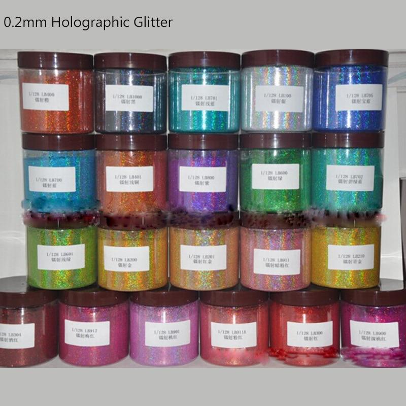 Polvo holográfico para uñas de 50 g/bolsa 0,2mm (1/128 .008) polvo holográfico para uñas de 13 colores para accesorios de purpurina en polvo # F0.