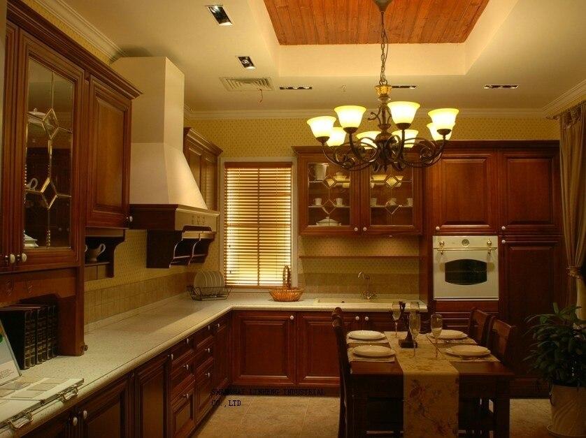 Модные кухонные шкафы из массива древесины Вишня (LH-SW058)