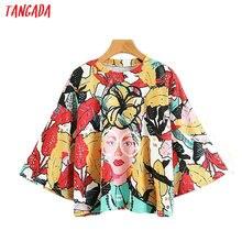Tangada Mode Vrouw Kleding Bloemenprint Street Wear T-shirts Drie Kwart O-hals Oversize Shirt Vrouwelijke Merk Top Tee XZ90