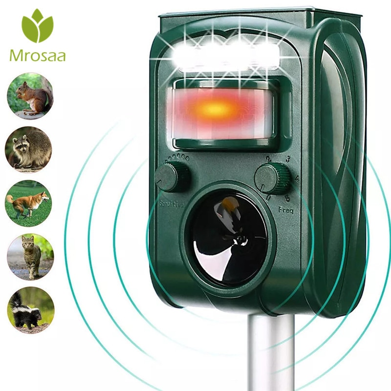 Garten Solar Powered Ultras onic Outdoor Tier Repeller Motion Sensor-Flash-Licht Hund Katze Waschbären Kaninchen Tier Dispeller