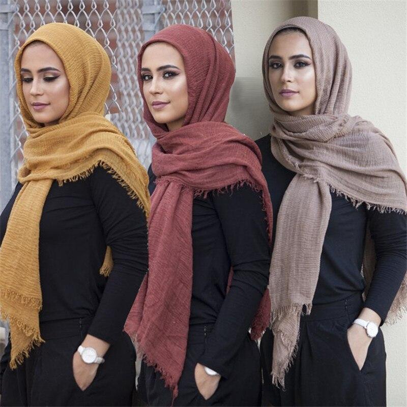 2019 neuheit Crinkle Hijab Baumwolle Leinen Muslimischen Frau Schals Turban Islamische Kleidung Kopf Wrap Instant foulard Headwear Schal