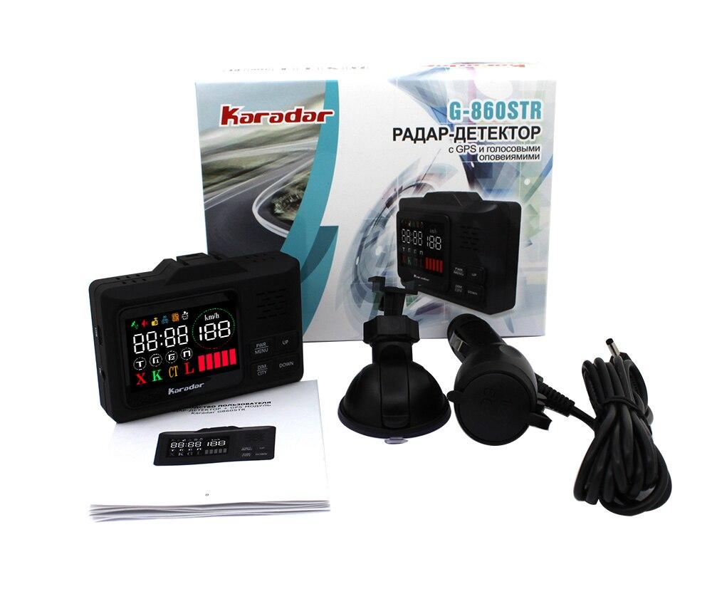 Купить с кэшбэком Karadar Car GPS anti radar detector  2 in 1 Police Speed GPS for Russian LED Display 360 Degree X K CT L with 2.4 inch display