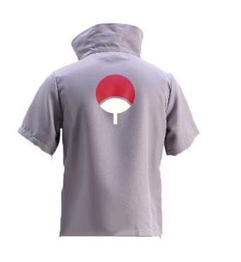 Camiseta gris de Naruto Sasuke Uchiha, disfraz Cosplay, talla única