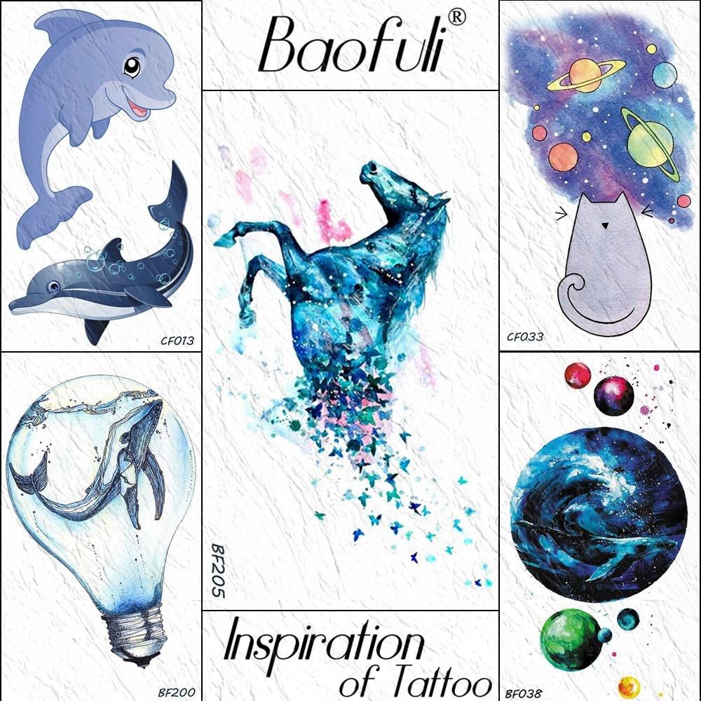 Azul aquarela dos desenhos animados unicórnio borboleta tatuagens temporárias adesivo azul falso tatuagens corpo arte braço mulher crianças tatoo à prova dwaterproof água