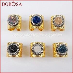 BOROSA Fashion Round Round Druzy Cuff Ring for Women,Titanium Rainbow Druzy With Crystal Rhinestone Pave Gold Band Ring JAB755