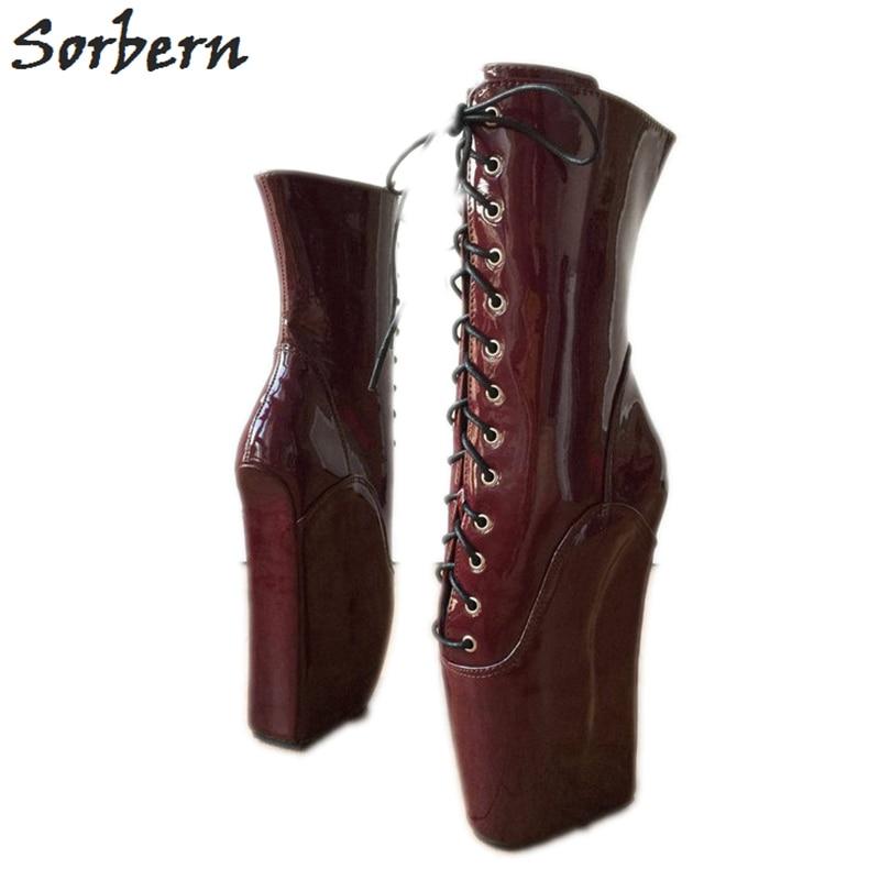 Sorbern, botines brillantes burdeos, botas Unisex de Ballet con tacón de cuña, zapatos Bdsm, botas de pantorrilla anchas, botines de plataforma, zapatos góticos
