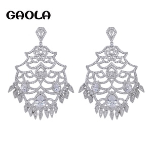 GAOLA New Design Micro-inserts Fashion Earring White Gold Color Brand AAA CZ Crystal Earrings Party Gift GLE5267
