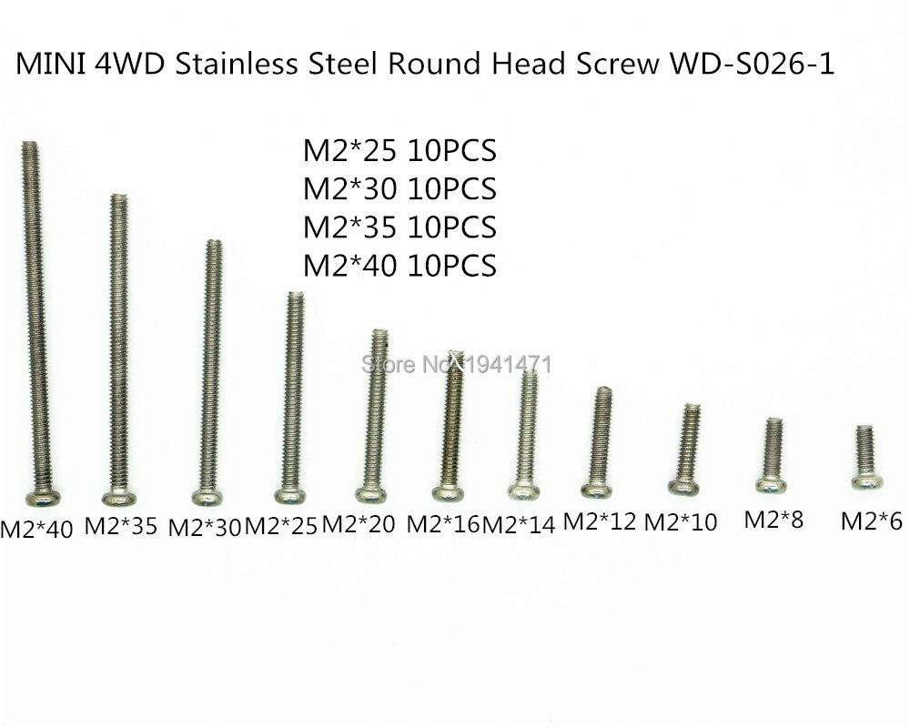 RFDTYGR M2 Cabeça Redonda de Aço Inoxidável Parafusos Self-made Peças Para Tamiya MINI 4WD M2 Cabeça Redonda Parafusos WD-S026-1 40 pçs/lote