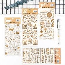 Fromthenon Sevimli Kedi Folyo Altın Sticker Lovedoki Dizüstü Planlayıcısı Aksesuarları Dekorasyon Çıkartmaları Karalama Defteri Diy Kırtasiye