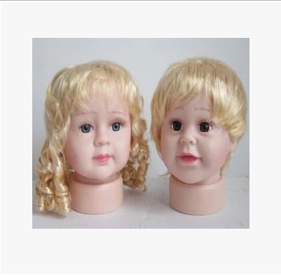 De! Plastic Kid MannequinHead para Hat menina e menino crianças cabeça de manequim com cabelo