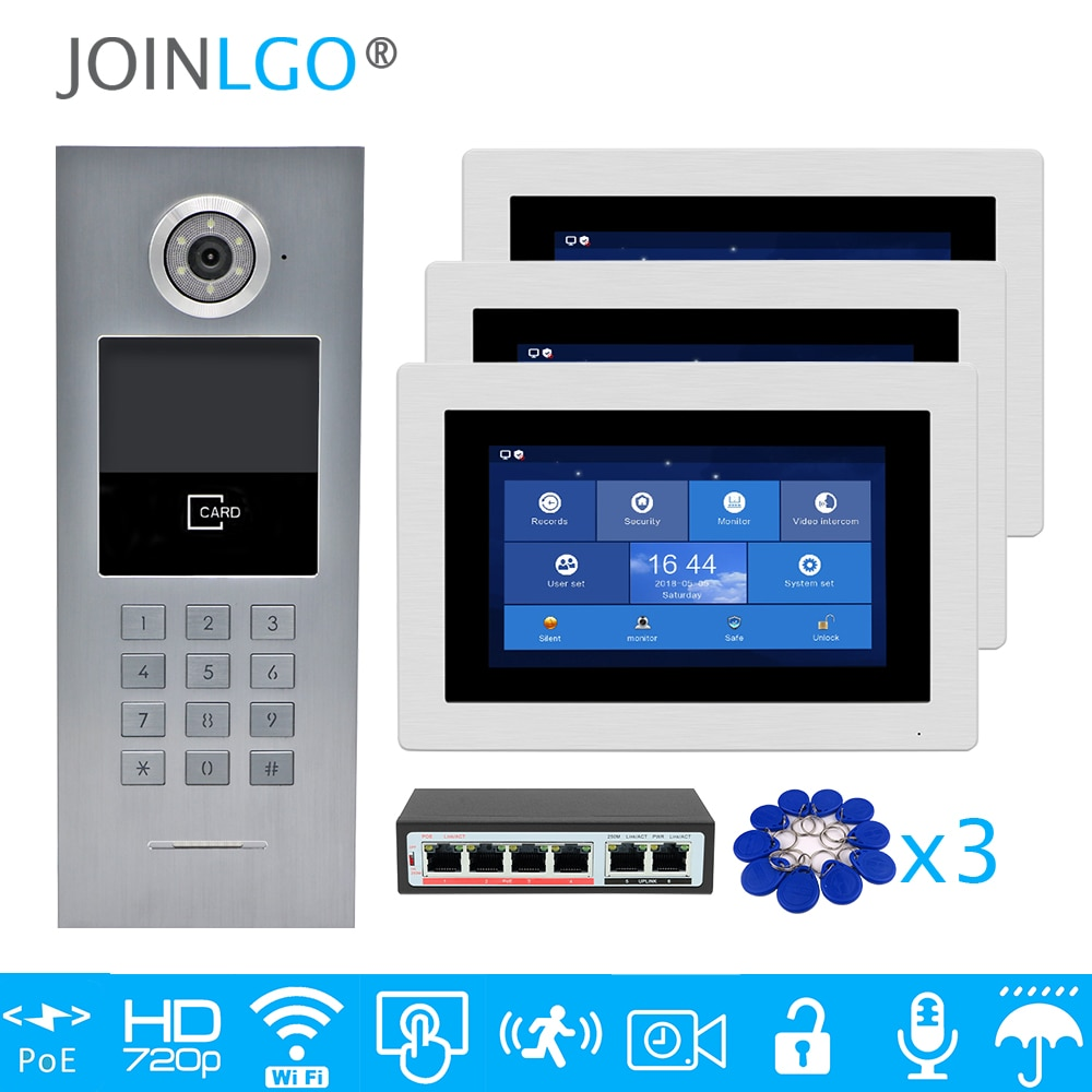 "Free Shipping 3 Apartments POE 720P IP Wifi 7"" Touch Screen Record Video Intercom Door Phone Code Keypad RFID Outdoor Camera"