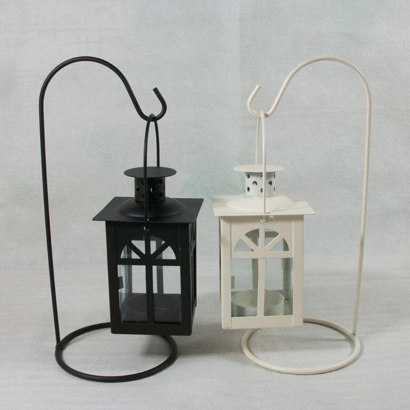 Black/White Moroccan wedding light Romantic Candle Holder Retro Hanging Lantern Lamp Decor For Dinner Home