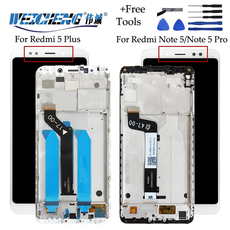 Para Xiaomi Redmi 5 Plus pantalla LCD + montaje de pantalla táctil con marco para Redmi Note 5 Pro Redmi Note 5 + herramientas gratis + cinta