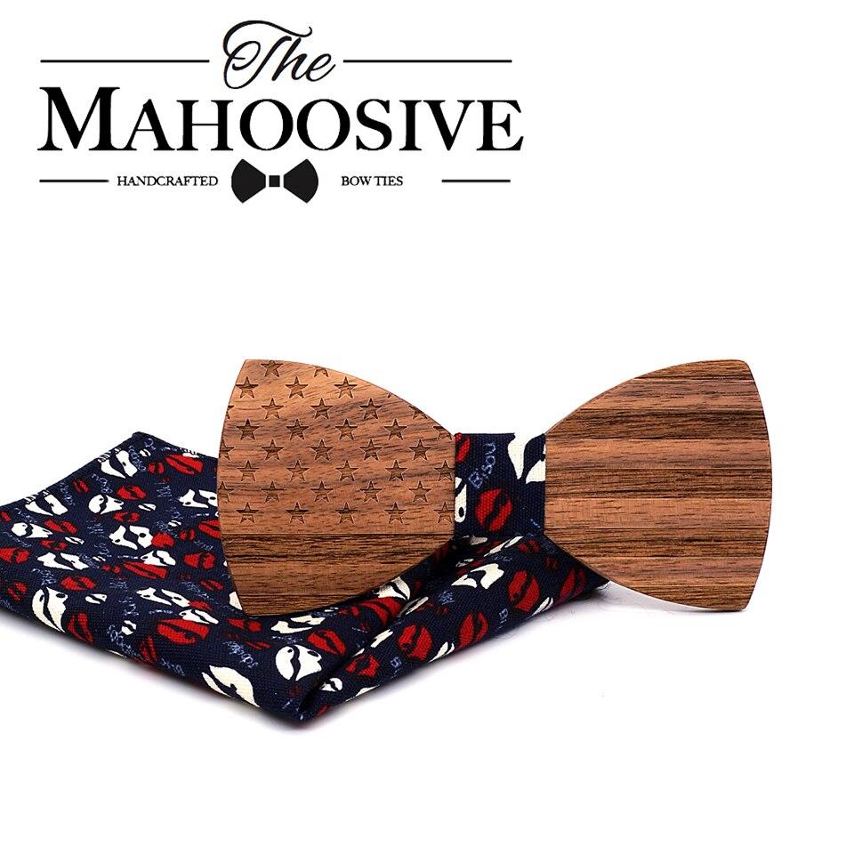Mahoosive 2018 Yeni Tasarım için Ahşap Yay bağları erkekler Düğün İş Papyon Kelebek Cravat Resmi Mendil Papyon Takım Elbise seti