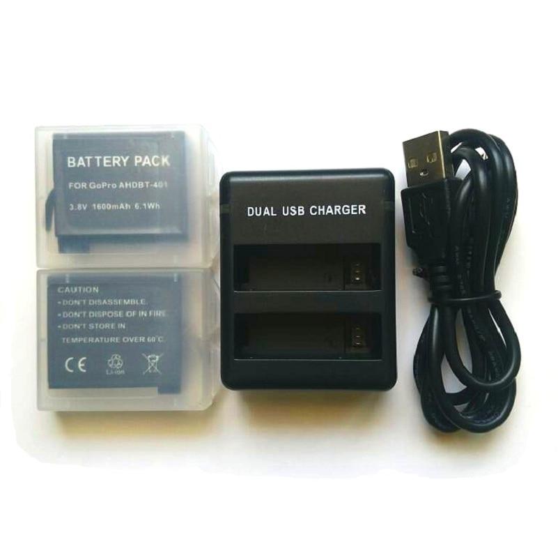 Für Gopro Hero 4 Batterie 3,8 V bateria Hero 4 Batterie USB DUAL Ladegerät batterie fall Für Hero4 Silber/ schwarz Action zubehör